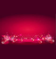 Glow wave or light aura on red bokeh background vector