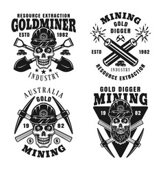 Gold digging resource extraction emblems vector