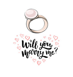 gold ring with pearl and lettering vector image