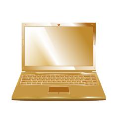 golden laptop vector image