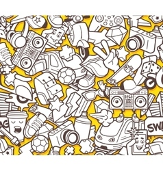 Graffiti seamless pattern for adult coloring book vector