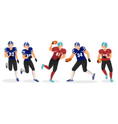 gridiron players set american football game hobby vector image