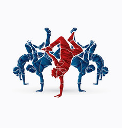 Group of people dancing dancer dance together vector