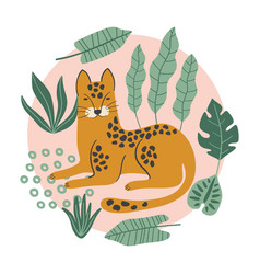 hand drawn print with cute leopard and tropical vector image