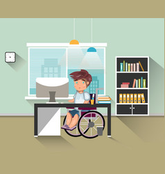 handicapped man work in office vector image