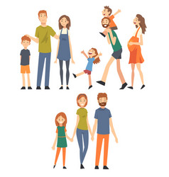 happy family with children set mothers fathers vector image
