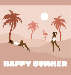 Happy summer hand drawn women vector