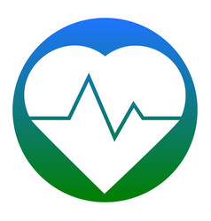 heartbeat sign white icon in vector image