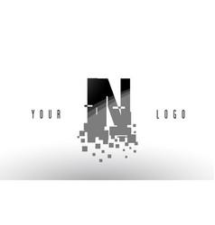 in i n pixel letter logo with digital shattered vector image