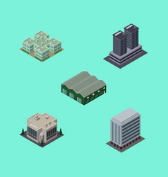 Isometric urban set of tower office warehouse vector