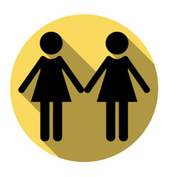 Lesbian family sign flat black icon with vector