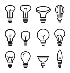 Light bulb set icons on white background vector image