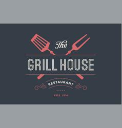 Logo grill house restaurant vector