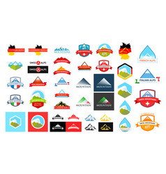 logotypes with alpine mountains vector image