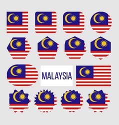 malaysia flag collection figure icons set vector image