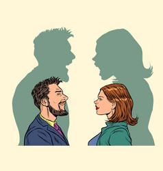 Man and woman conflict quarrel concept vector