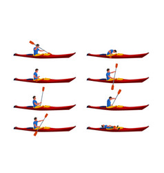 man in kayak set 01 vector image