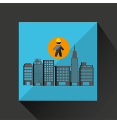 man silhouette helmet and buildings design graphic vector image