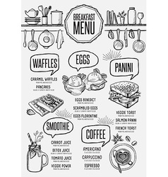 Menu breakfast restaurant food template placemat vector image