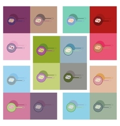 Modern flat icons collection egg frying pan vector