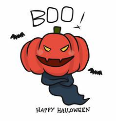 monster pumpkin head happy halloween cartoon vector image
