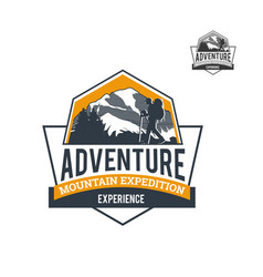 mountain explore adventure logo template vector image