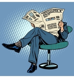 Newspaper reading man vector