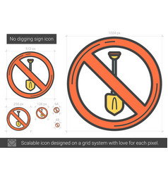 No digging sign line icon vector