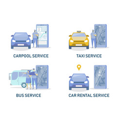 Online car and public vehicle srvices flat vector