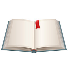 Open book with empty sheets and red bookmark vector