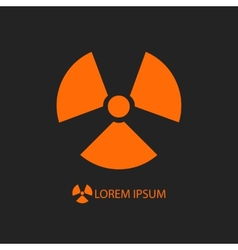 Orange radiation sign on black vector