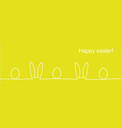outline easter rabbit ears and eggs vector image
