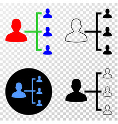 People hierarchy eps icon with contour vector
