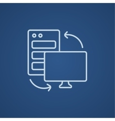 Personal computer set line icon vector