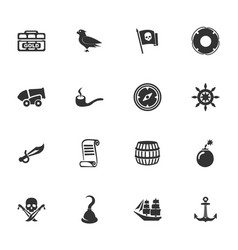 pirates icons set vector image