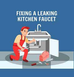 Plumber fixing leaking kitchen faucet banner vector