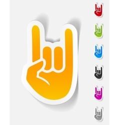 Realistic design element rock hand gesture vector