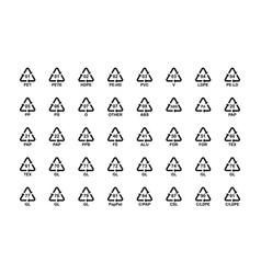 recycling codes symbols set plastic paper glass vector image