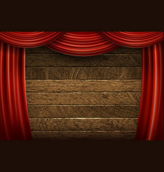 red curtains on wooden background vector image