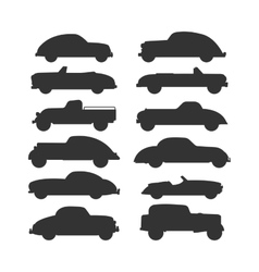 Retro car isolated set vector image