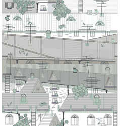 Roofs of an old city with pigeons cats antennas vector