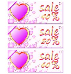 sales and discounts banners with hearts vector image