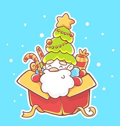 santa claus sitting in red gift box on bl vector image
