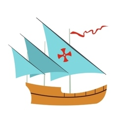 Santa Maria sailing ship icon flat style vector image