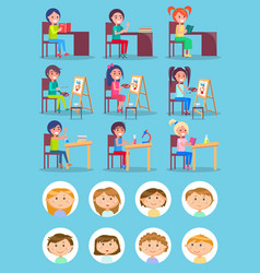 school children art and chemistry or lierature vector image