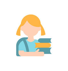 Schoolgirl flat color icon vector