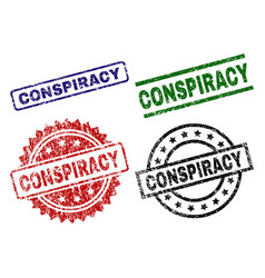 Scratched textured conspiracy seal stamps vector
