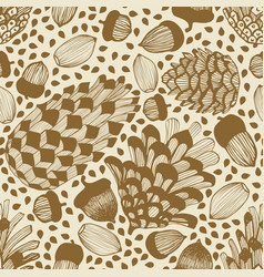 Seamless background with cones and acorns vector