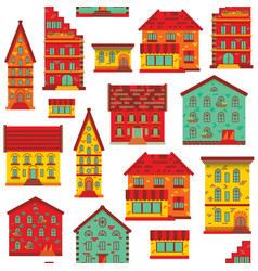 seamless flat house pattern-02 vector image