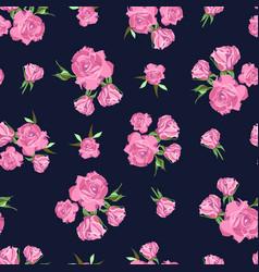 seamless pattern on dark blue background rose vector image